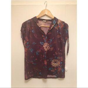 Purple floral sheer blouse, size medium